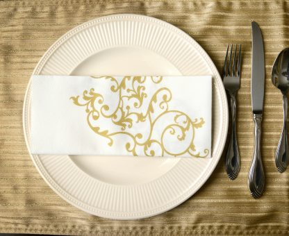 SimuLinen Signature Gold Floral Dinner Napkin