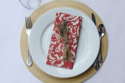 SimuLinen Signature Colored Burgundy, Champagne and Gold Floral Dinner Napkins