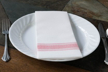 SimuLinen Signature Red Bistro Stripe Dinner Napkin