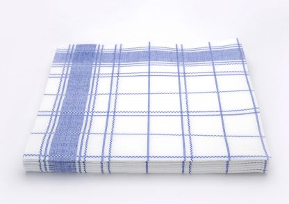 SimuLinen Gallery White and Blue Plaid Dinner Napkin