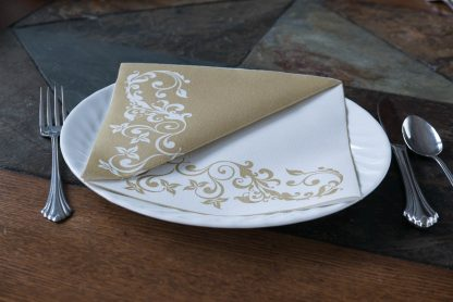 SimuLinen Gallery White and Gold Splendor Dinner Napkin