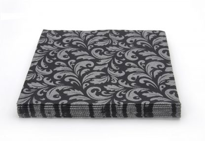 SimuLinen Gallery Black and Silver Floral Dinner Napkin