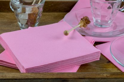 SimuLinen Cocktail and Party Napkins Beverage Napkins – Decorative, Absorbent, Cloth Like and Disposable - Pink