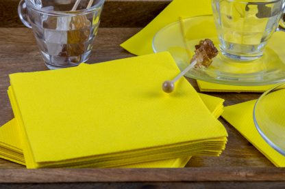 SimuLinen Cocktail and Party Napkins Beverage Napkins – Decorative, Absorbent, Cloth Like and Disposable - Yellow