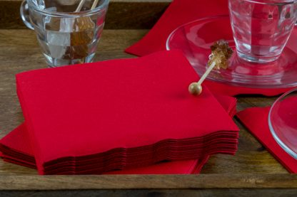 SimuLinen Cocktail and Party Napkins Beverage Napkins – Decorative, Absorbent, Cloth Like and Disposable - Red