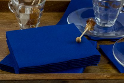 SimuLinen Cocktail and Party Napkins Beverage Napkins – Decorative, Absorbent, Cloth Like and Disposable - Blue