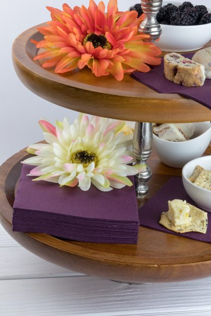 SimuLinen Cocktail and Party Napkins Beverage Napkins – Decorative, Absorbent, Cloth Like and Disposable - Plum