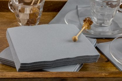 SimuLinen Cocktail and Party Napkins Beverage Napkins – Decorative, Absorbent, Cloth Like and Disposable - Grey