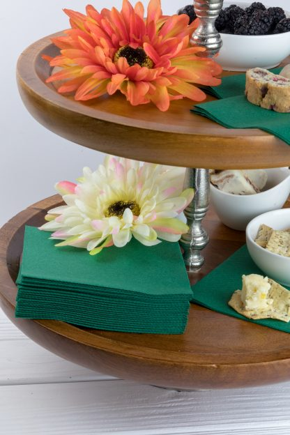 SimuLinen Cocktail and Party Napkins Beverage Napkins – Decorative, Absorbent, Cloth Like and Disposable - Dark Green