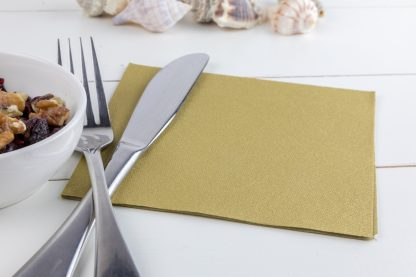 SimuLinen Cocktail and Party Napkins Beverage Napkins – Decorative, Absorbent, Cloth Like and Disposable - Gold