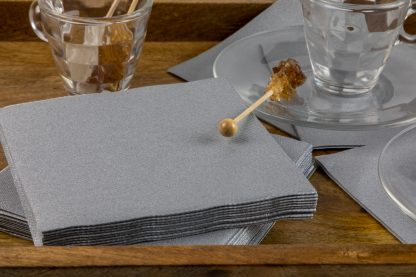 SimuLinen Cocktail & Party Napkins Beverage Napkins – Decorative, Absorbent, Cloth Like & Disposable - Silver